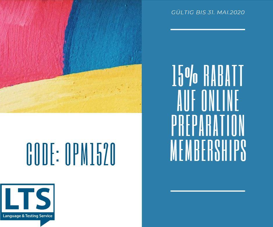 Online Preparation Membership Rabatt
